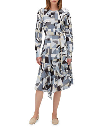 Lafayette 148 New York Paris Long-Sleeve Printed Dress w/ Belt