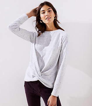 LOFT Petite Speckled Twist Sweatshirt
