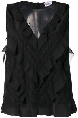 RED Valentino sleeveless ruffled blouse