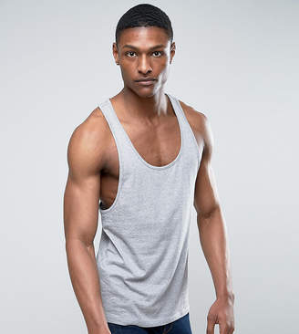 Asos DESIGN Tall tank with extreme racer back in gray marl