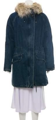 Yves Salomon Army by Denim Fur-Lined Coat
