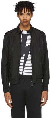 Neil Barrett Black Nylon Thunderbolt Bomber Jacket