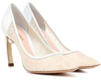 Nicholas Kirkwood Mira Pearl lace and leather pumps