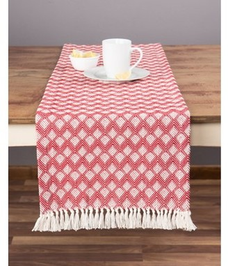 Sticky Toffee Cotton Woven Table Runner with Fringe, Scalloped Diamond, Red, 14 in x 72 in