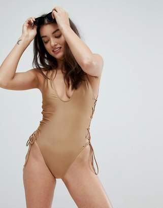 Co And Gold Side Tie One Piece Swimsuit
