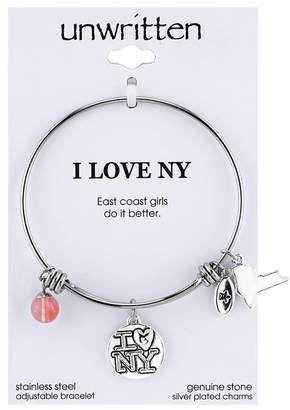Unwritten I Love Ny Charm and Cherry Quartz (8mm) Bangle Bracelet in Stainless Steel