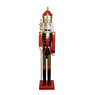 Asstd National Brand 5' Decorative Commerical Size Red King Wooden Christmas Nutcracker with Scepter