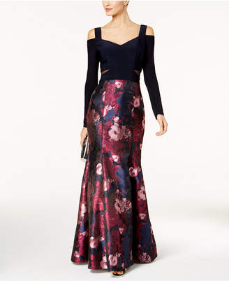 Xscape Evenings Printed Cold-Shoulder Gown
