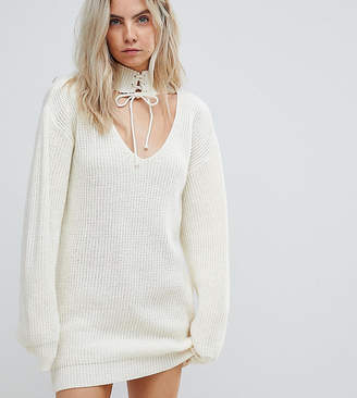 Glamorous Petite Relaxed Sweater Dress With Cut Out Collar And Tie Cuffs