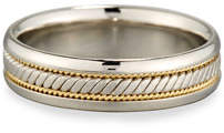 Gents Eli Platinum & 18K Gold Twisted Wedding Band Ring, Size 10
