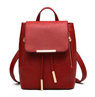 Hynbase Retro Women Student PU Schoolbag Mini Travel Rucksack Shoulder Bag Pruple