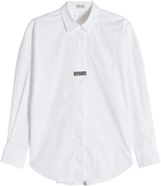 Brunello Cucinelli Cotton Shirt with Embellishment