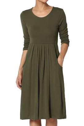TheMogan Women's 3/4 Sleeve High Waist Pleated Stretch Jersey Dress M