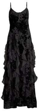 Parker Black Equinox Velvet Floral Ruffle Gown