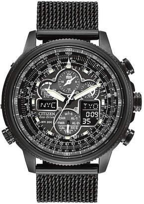 Citizen Eco-Drive Navihawk A-T Mens Mesh Strap Chronograph Watch JY8037-50E