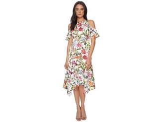 Maggy London Botanical Bloom Cold Shoulder Fit Flare Women's Dress