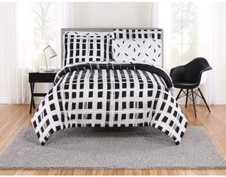 Mainstays Ombre Plaid Black and White Bed in a Bag Bedding Set, Multiple Sizes