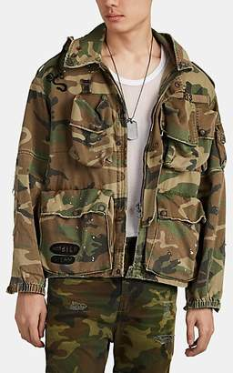 R 13 Men's Distressed Camouflage Hooded Field Jacket