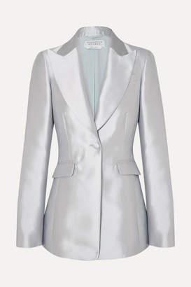 Gabriela Hearst Serge Silk And Wool-blend Blazer - Silver