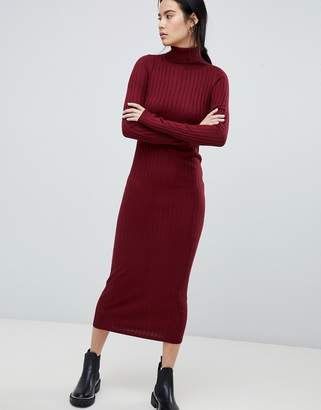 Asos Design DESIGN midi dress with high neck in rib