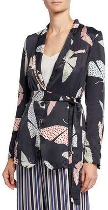 Forte Forte Butterfly-Print Satin Belted Jacket