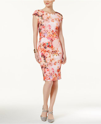 Eci Floral-Print Scuba Sheath Dress $70 thestylecure.com