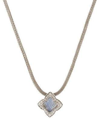 David Yurman 18K Dyed Chalcedony & Diamond Quatrefoil Pendant Necklace