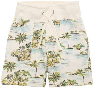 Palms Print Cotton Sweat Shorts