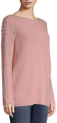 ST. JOHN'S BAY Womens Boat Neck Long Sleeve Pullover Sweater