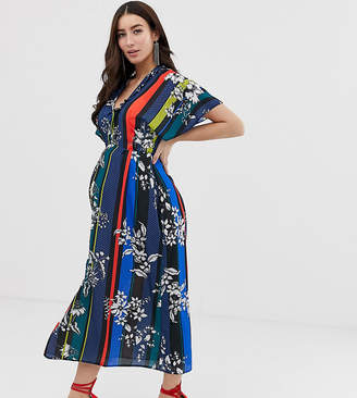 b8455b48da12 Queen Bee wrap front maxi dress with thigh split in contrast floral stripe  print