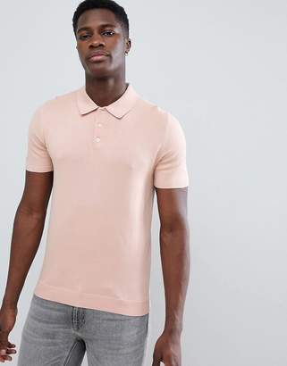 Reiss Short Sleeve Knitted Polo Shirt In Pink