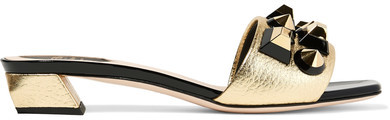 Fendi - Studded Metallic Textured And Patent-leather Sandals - Gold