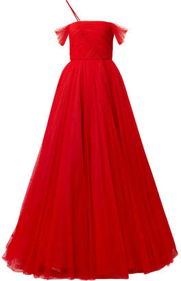 Jason Wu Ruched Point D'esprit Tulle Gown - Red