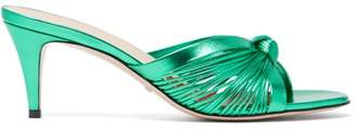 Gucci Knotted Metallic Leather Mules - Womens - Green