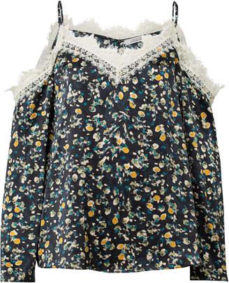Schumacher Dorothee Pastel Flowering Cold Shoulder Lace Trim Silk Top