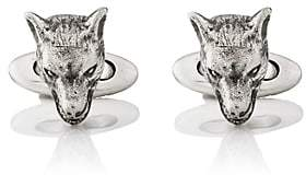 Gucci Men's Anger Forest Wolf-Head Cufflinks - Silver