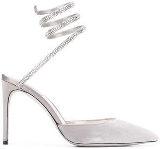 Rene Caovilla snake-anklet velvet pumps