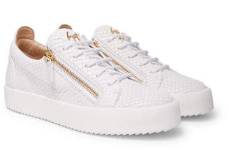 Giuseppe Zanotti Logoball Snake-Effect Leather Sneakers