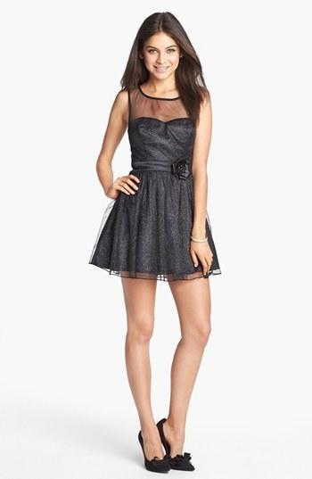 Trixxi Illusion Yoke Glitter Fit & Flare Dress (Juniors) (Online Only)