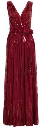 Quiz Wine Woven Sequin Flare Skirt Maxi Dress