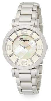 Salvatore Ferragamo Gancino Deco Diamond, Mother-Of-Pearl & Stainless Steel Bracelet Watch