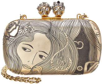 Alexander McQueen Queen & King Classic Skull Leather Clutch