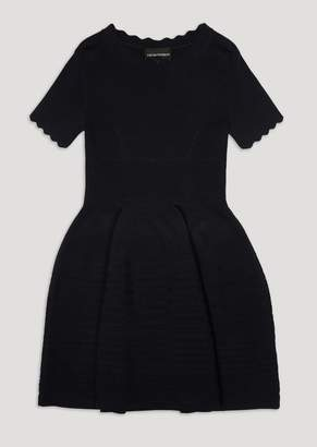 Emporio Armani Full-Skirt Knit Dress With Scalloped Trim