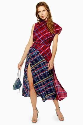 Topshop PETITE Clash Check Midi Dress