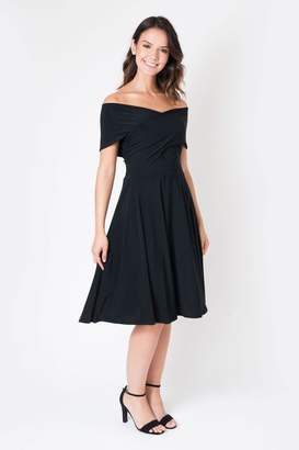 Bardot Womens Want That Trend Twist Front Skater Midi Dress - Black