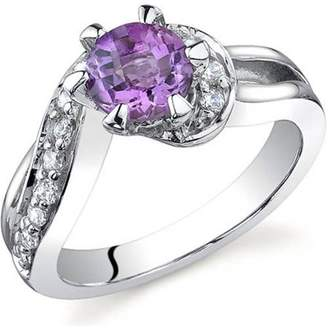 Oravo 0.75 Carat T.G.W. Amethyst Rhodium-Plated Sterling Silver Engagement Ring