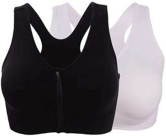 HENNY RUE Women's Front Zipper Closure Sports Bra Padded Workout Yoga Bras Pack of 2 Black/White XL