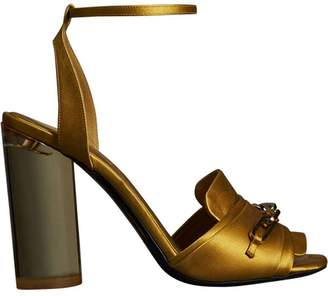 Burberry Link Detail Perspex Heel Satin Sandals