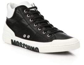 Moschino Men's Clean Logo Sole Leather Sneakers - White Black - Size 40 (7)