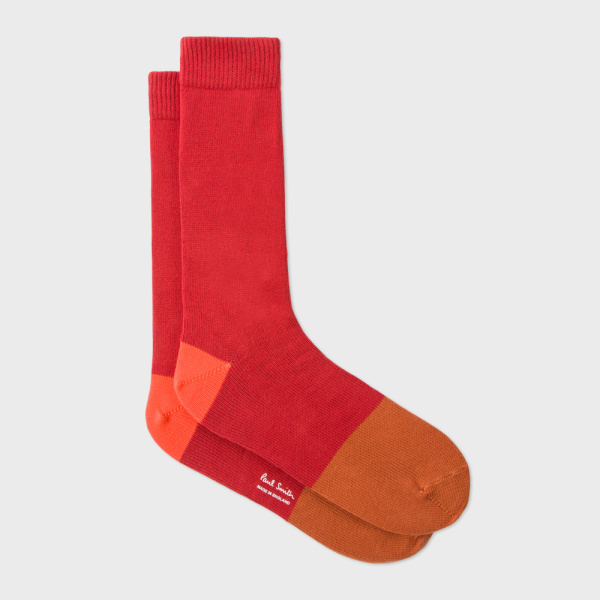 Men's Burnt Red Colour Block Socks